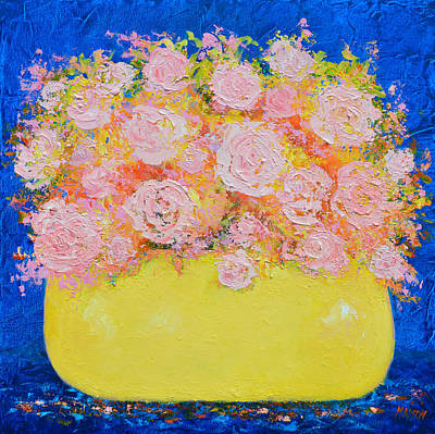 Pink Flowers Print by Jan Matson