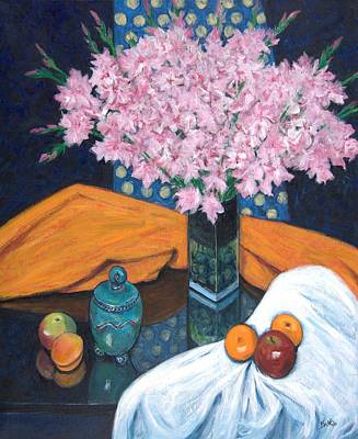 Glass Vase Painting - Pink Flowers by Sandra Delaney