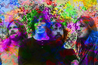 Pink Mixed Media - Pink Floyd Band Portrait Paint Splatters Pop Art by Design Turnpike