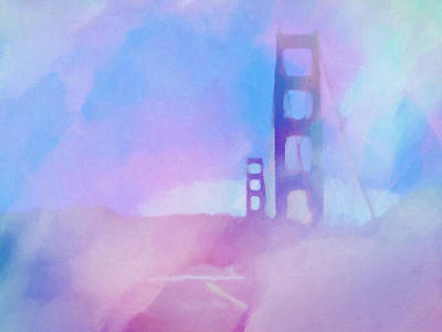 Fog Painting - Pink Fog Golden Gate by Lutz Baar