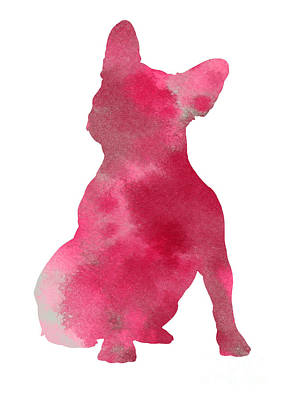 Pink Frenchie Watercolor Minimalist Painting Print by Joanna Szmerdt