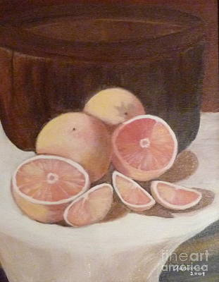 Pink Grapefruit Print by Adrianne  Wagers