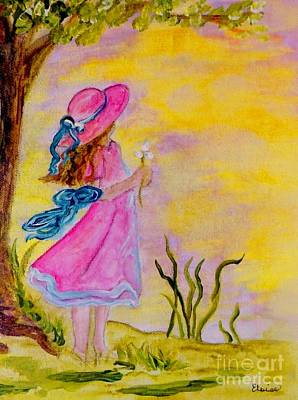 Breeze Painting - Pink Hat by Eloise Schneider
