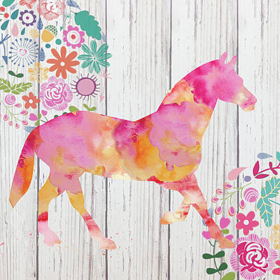 Tween Mixed Media - Pink Horse by Marilu Windvand