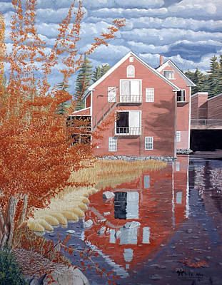 Maine Painting - Pink House In Autumn by Dominic White