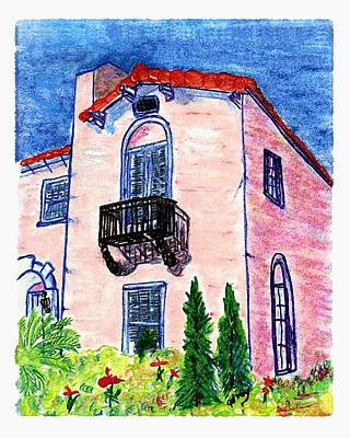 Key West Painting - Pink House by W Gilroy