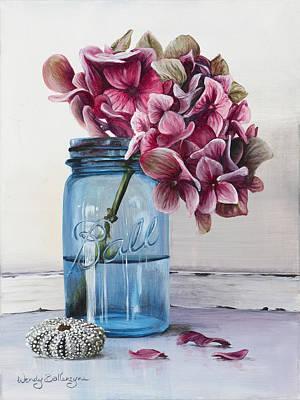 Pink Hydrangea Print by Wendy Ballentyne