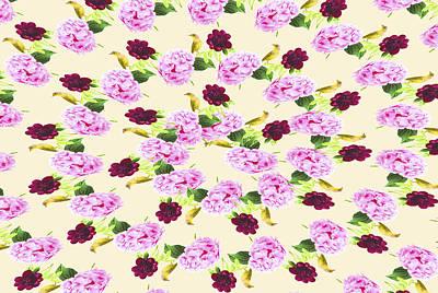 Wren Digital Art - Pink Hydrangea With Red Peony House Wren by Daphne Sampson