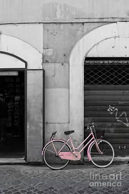 Pink Italian Bike Print by Edward Fielding
