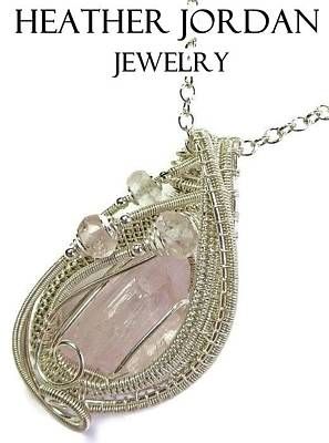 Sterling Silver Wrapped Pendant Jewelry - Pink Kunzite Pendant In Sterling Silver With Morganite Knzss6 by Heather Jordan
