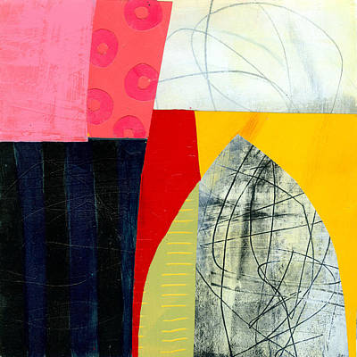 Abstract Collage Painting - Pink Lifesavers by Jane Davies