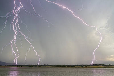 Lightning Photograph - Pink Lightning Strikes by James BO  Insogna