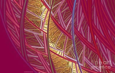 Apophysis Mixed Media - Pink Lines by Deborah Benoit