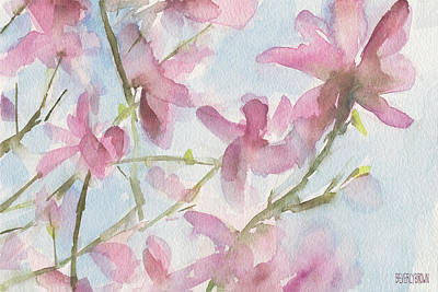 Pink Flower Branch Painting - Pink Magnolias Blue Sky by Beverly Brown Prints
