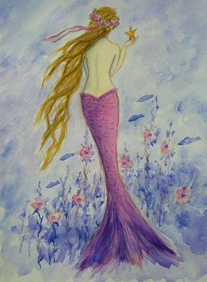 Extinct And Mythical Drawing - Pink Mermaid In Her Garden by Tina Obrien