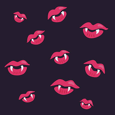 Pink Mouths With Vampire Teeth Print by Boriana Giormova