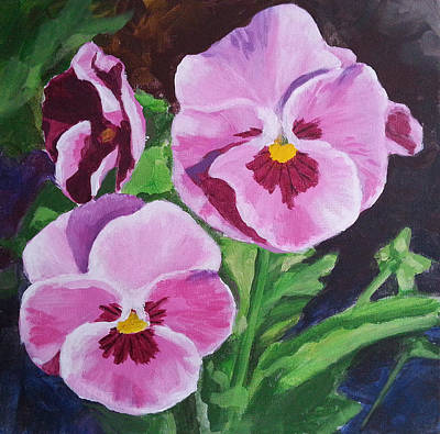 Pansy Painting - Pink Pansies by Angelina Sofronova