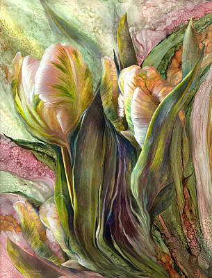 Tulips Mixed Media - Pink Parrot Tulips by Carol Cavalaris