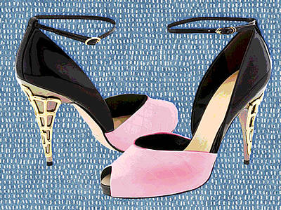 Stilettos Painting - Pink Patent Leather With Sculpted Metal Heels by Elaine Plesser