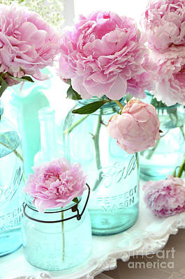 Pink Peonies In Blue Aqua Mason Ball Jars - Romantic Shabby Chic Cottage Peonies Flower Nature Decor Print by Kathy Fornal
