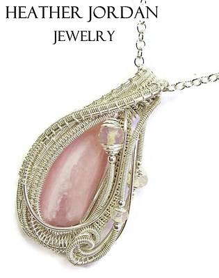 Sterling Silver Wrapped Pendant Jewelry - Pink Peruvian Opal Pendant In Sterling Silver With Ethiopian Opals Pposs2 by Heather Jordan