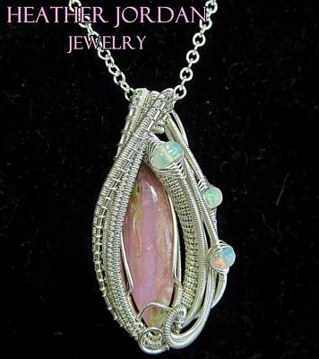 Sterling Silver Jewelry - Pink Peruvian Opal Pendant In Sterling Silver With Ethiopian Welo Opals Pposs3 by Heather Jordan