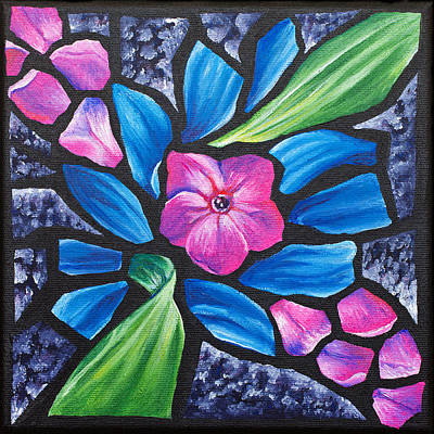 Pink Phlox And Blue Daisy, 2011 Print by Julie Freeney