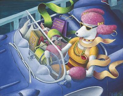 Corvette Painting - Pink Poodle's Day Out by Eva Folks