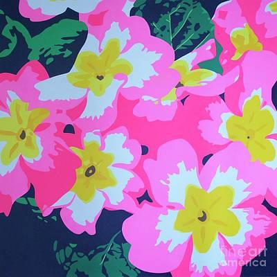 Pink Primulas Original by Susan Porter