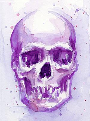 Pink Purple Skull Print by Olga Shvartsur