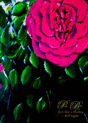 Mixed Media - Pink Rose  by C F  Legette