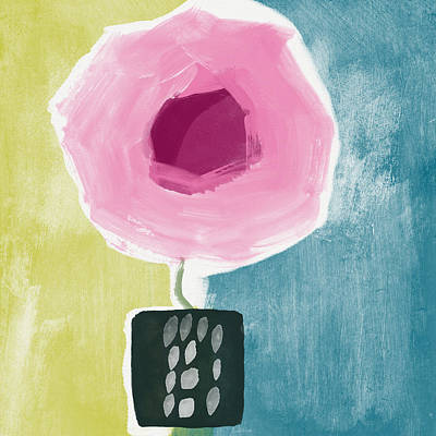 Pink Rose In A Small Vase- Art By Linda Woods Print by Linda Woods