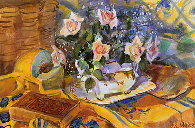 Gouache Painting - Pink Roses In Gaye's Dish by Sue Wales