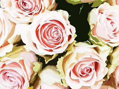 Pink Roses Painting Print by Maggie Vlazny
