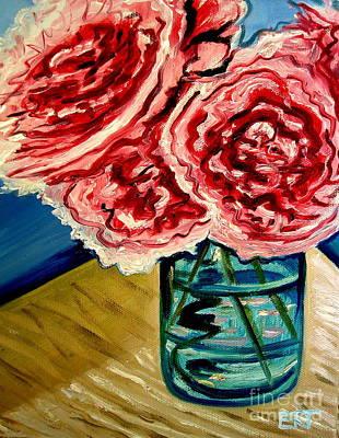 Pink Ruffled Peonies Print by Elizabeth Robinette Tyndall