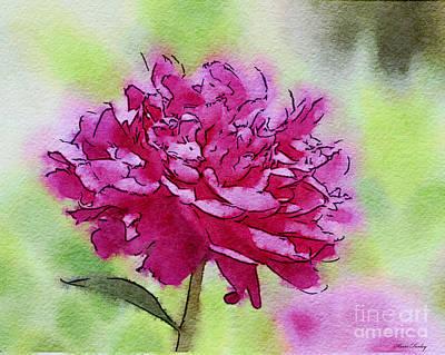Watercolor Photograph - Pink Ruffles by Kerri Farley