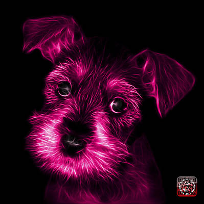 Schnauzer Art Digital Art - Pink Salt And Pepper Schnauzer Puppy 7206 F by James Ahn