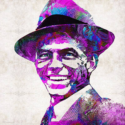 Frank Sinatra Painting - Pink Sinatra - Frank Sinatra Tribute by Sharon Cummings