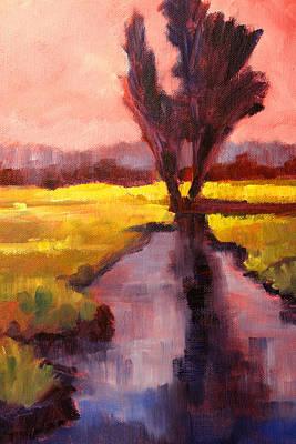 Prairie Sunset Painting - Pink Sky Sunset by Nancy Merkle