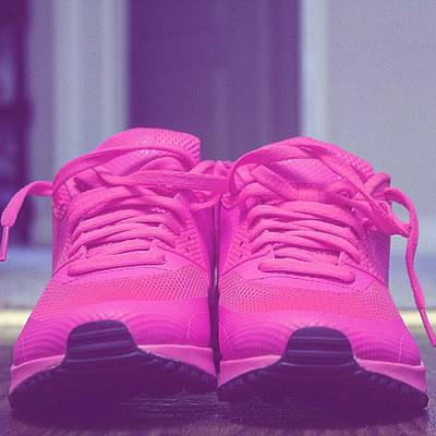 Pink Sneakers Print by Cortney Herron