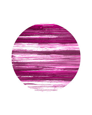 Pottery Barn Style Painting - Pink Stripes Abstract Circle by Janine Aykens