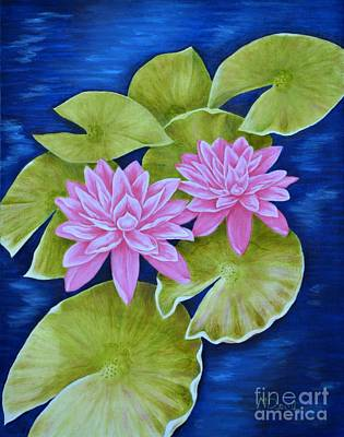 Pink Water Lilies Print by Mary Deal