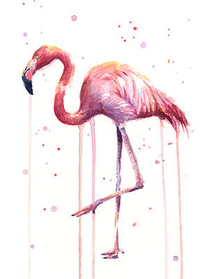 Pink Watercolor Flamingo Print by Olga Shvartsur