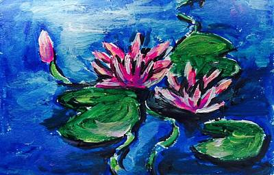 Waterlily Drawing - Pink Waterlily  by Hae Kim