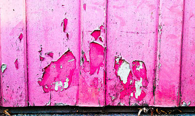 Pink Wood With Peeling Paint  Print by Tom Gowanlock