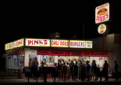 Pink's Hot Dogs Of Hollywood Print by Mountain Dreams