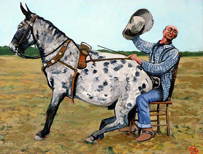 Bucking Bull Painting - Pinky And Gert by Tom Roderick