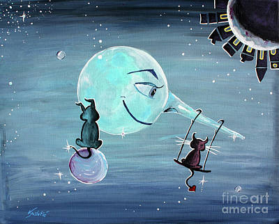 Whimsical Painting - Pinocchio's Moon - For Children Paintings By Valentina Miletic by Valentina Miletic