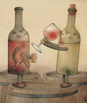 Red Wine Drawing - Pinot Noir And Chardonnay by Kestutis Kasparavicius