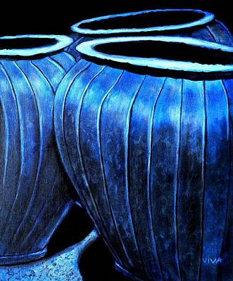 Pinstripes Painting - Pinstripe Pots by VIVA Anderson